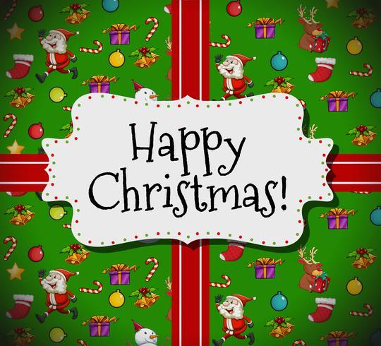 Glückliche Weihnachtskartenschablone mit Sankt und Verzierungen vektor
