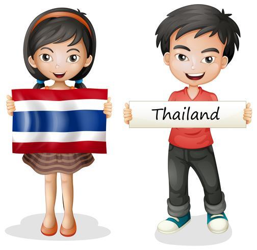 Pojke och flicka med flagga i Thailand vektor