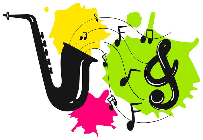 Silhouettieren Sie Saxophon mit Musikanmerkungen vektor