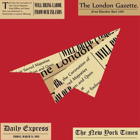 Pappersflygplan. Flygplan från tidningen på vit bakgrund. Färskt nyhetskoncept. vektor