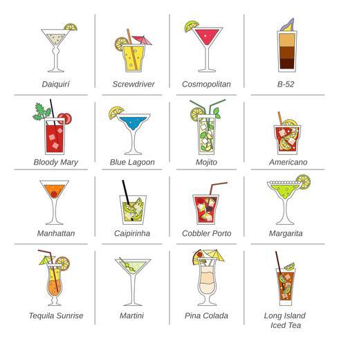 Alkohol Cocktails Ikoner Flat Line vektor