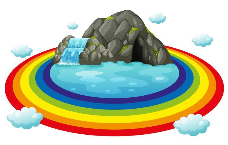 Grotta och regnbåge vektor