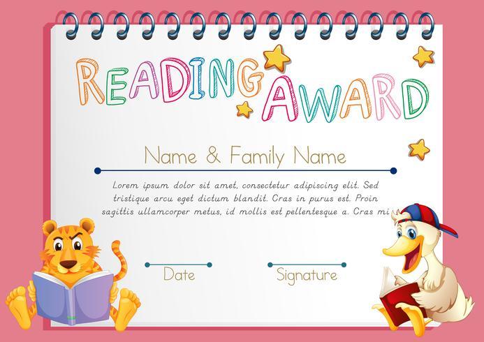 Läser prismall med djur som läser böcker vektor