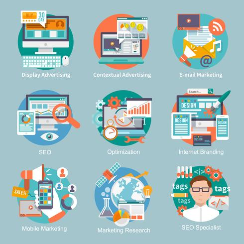 Seo Internet-Marketing-flache Symbol vektor