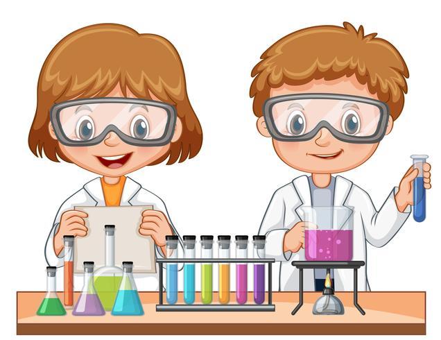 Flicka och pojke gör vetenskapsexperiment vektor