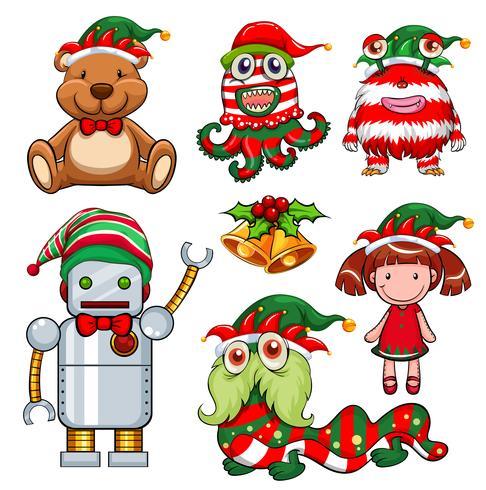 Jultema med leksaker i festhatt vektor