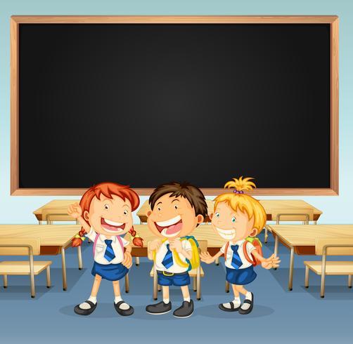Ramdesign med tre elever i klassrummet vektor