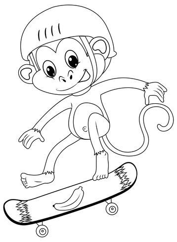 Djur skiss för apa på skateboard vektor