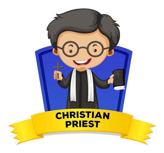 Etikettendesign mit christlichem Priester vektor
