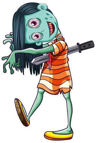 Kuslig Zombie flicka vit bakgrund vektor