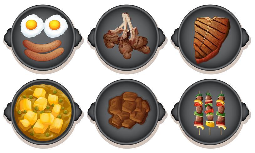 En uppsättning måltid på varmplåten vektor