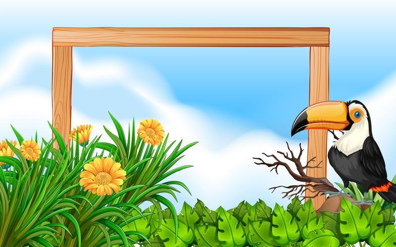 Toucan Holzrahmen Hintergrund vektor