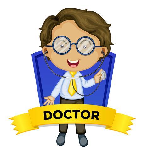Besetzung wordcard mit männlichem Doktor vektor