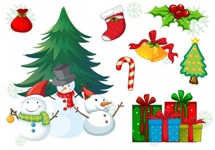 Jul tema med snögubbe och presenter vektor