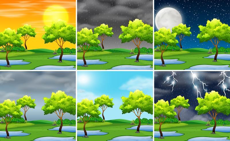 Ställ av natur landskap olika väder vektor