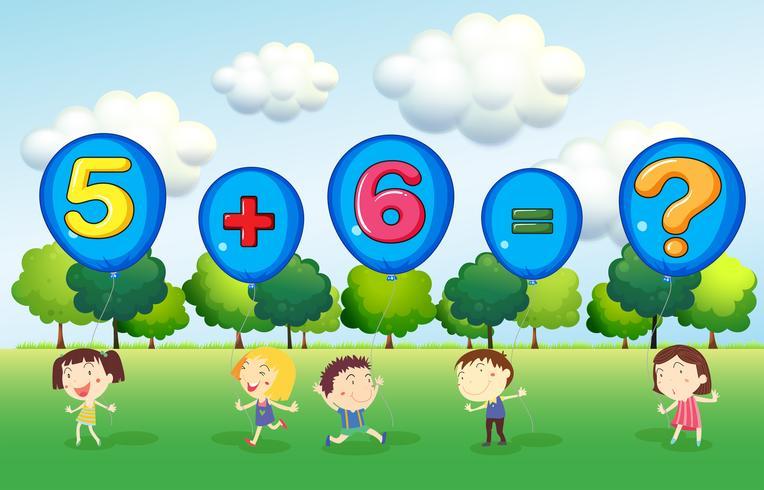 Math kalkylblad med barn i parken vektor