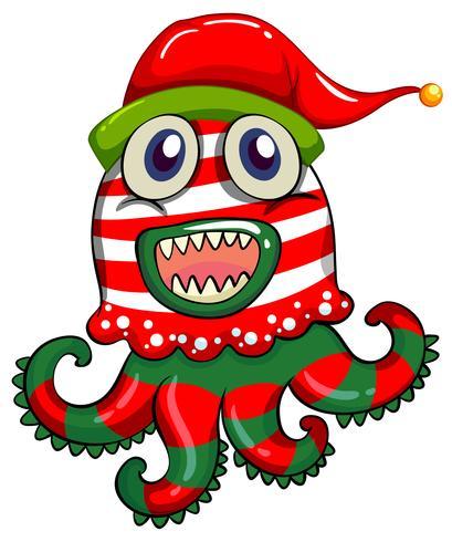 Jultema med monster i julhatt vektor