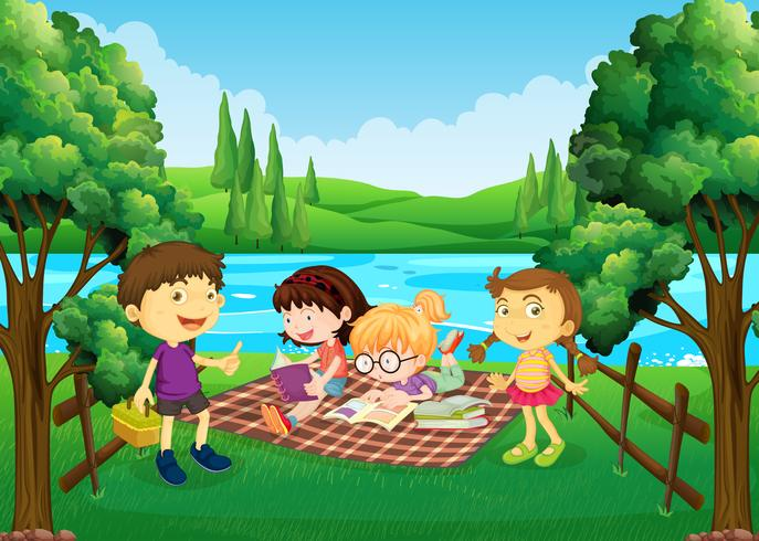 Barn med picknick vid floden vektor