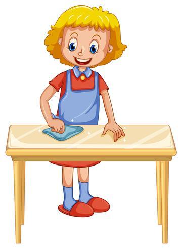 Eine Dame Cleaning Table auf weißem Hintergrund vektor