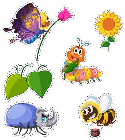 Klistermärke med många typer av insekter vektor