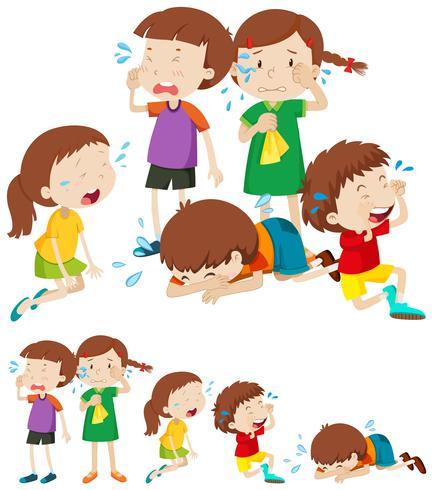 Många ledsna barn gråter vektor