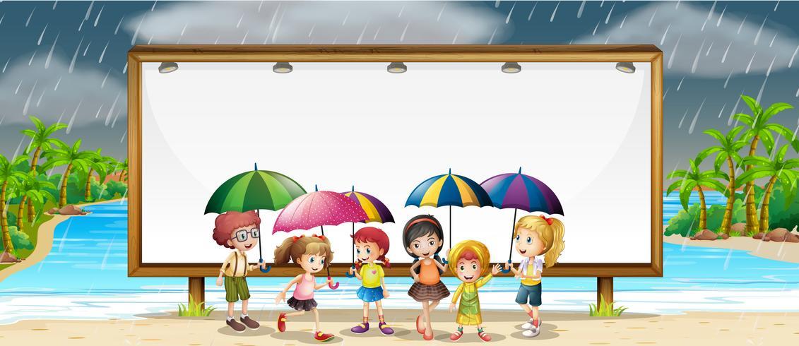 Board mall med barn i regnet vektor