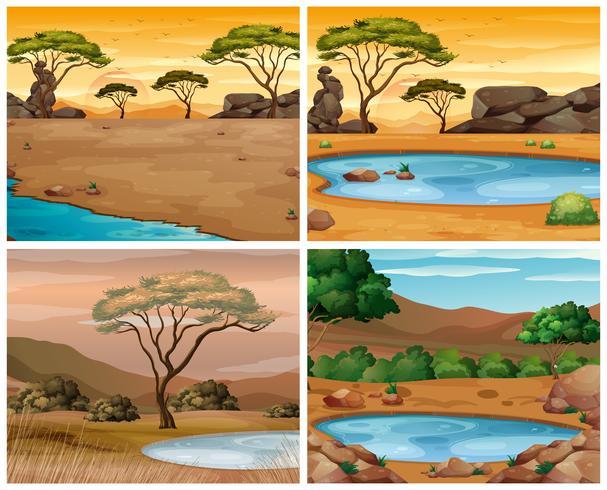 Fyra savannescener vid olika tider på dagen vektor