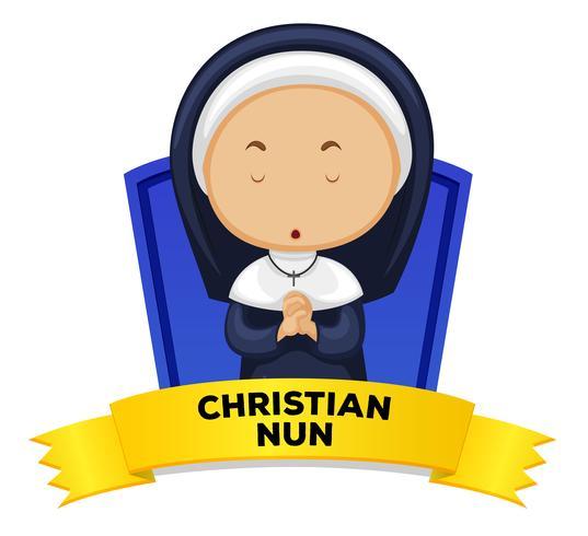 Wordcard mit christlicher Nonne der Besetzung vektor