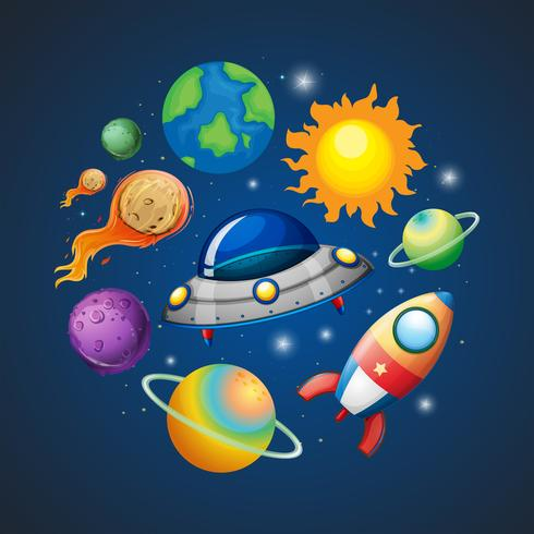 Solsystem och rymd vektor