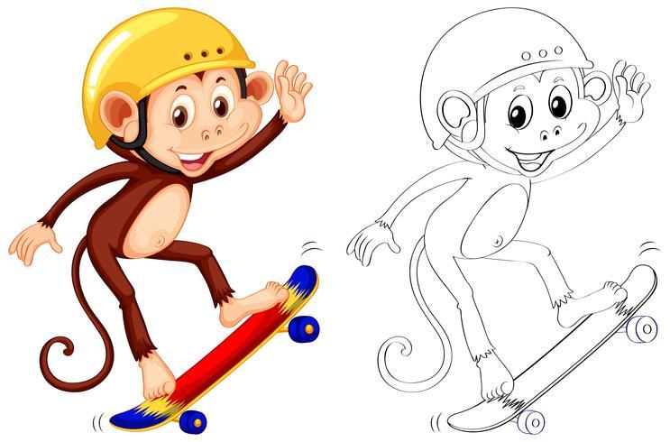 Djur skiss för apa skateboarding vektor