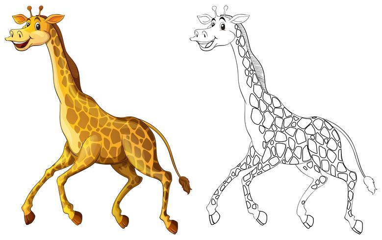 Doodles utarbetande djur för girafflöpning vektor