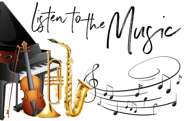 Phrase hört Musik mit vielen Instrumenten im Hintergrund vektor