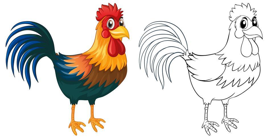 Doodle Tier für Hahn vektor