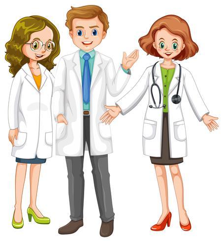 Tre läkare står tillsammans vektor