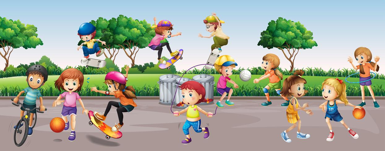 Många barn leker i parken vektor