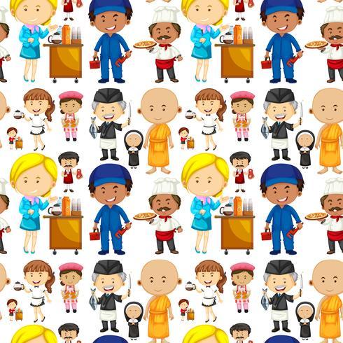 Nahtloser Hintergrund mit Leuten und Jobs vektor