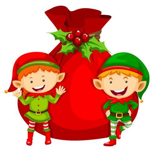 Jultema med två älvor och röd väska vektor
