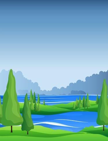 Scen med tallar och flod vektor