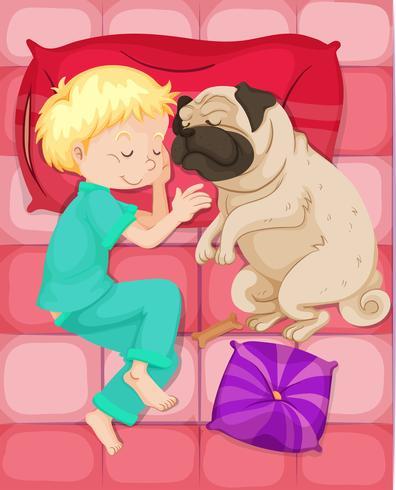 Pojke sova med husdjur hund i sängen vektor