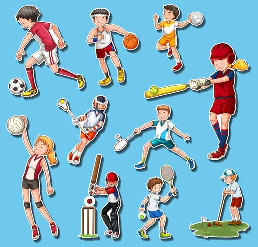 Menschen, die verschiedene Sportarten ausüben vektor
