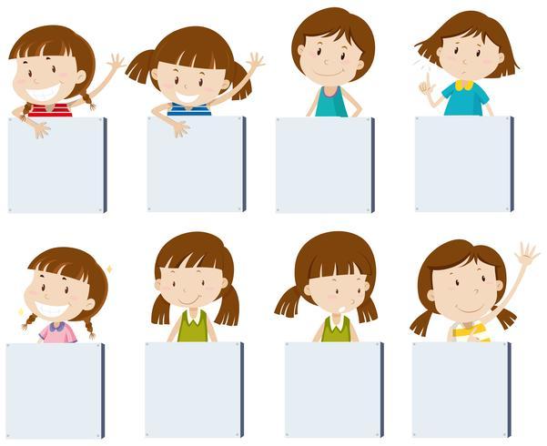 Verschiedene Mädchencharaktere, die leere Zeichen anhalten vektor
