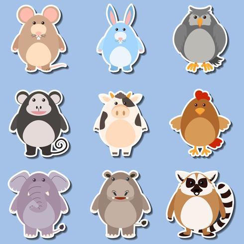 Klistermärke design för olika typer av djur vektor