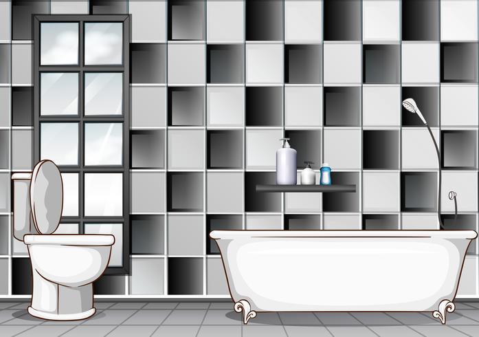 Badrum med svarta och vita plattor vektor