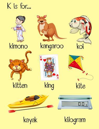 Många ord börjar med bokstaven K vektor