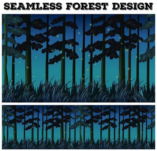 Sömlös bakgrund med skog på natten vektor