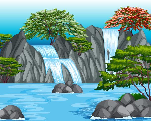 Bakgrundsscen med vattenfall och träd vektor