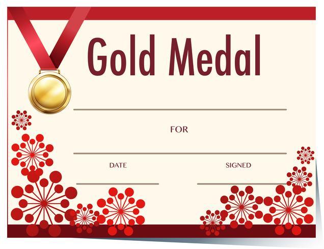 Zertifikatvorlage mit Goldmedaille vektor