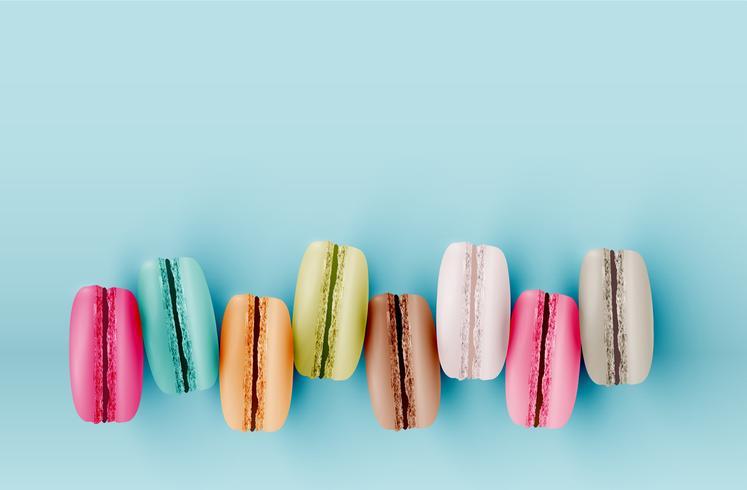 Hohe ausführliche bunte macarons auf blauem Hintergrund, Vektorillustration vektor
