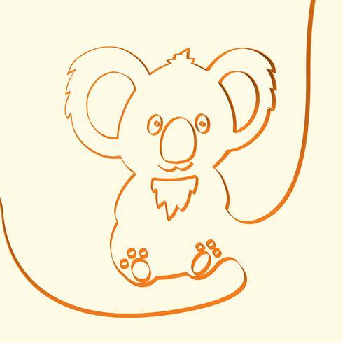 3D linje konst koala djur illustration, vektor illustration