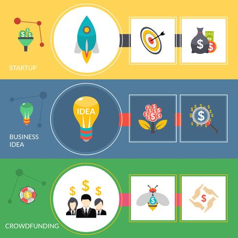Crowdfunding-Startup flache horizontale Banner gesetzt vektor